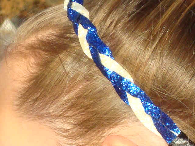 Royal Blue/White Glitter Braid